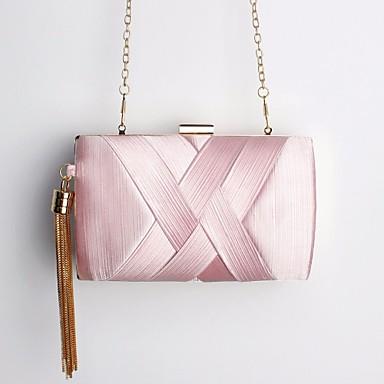 7b31aa4c75 Γυναικεία Τσάντες Πολυεστέρας Βραδινή τσάντα Φούντα Ασημί   Ανθισμένο Ροζ    Βυσσινί