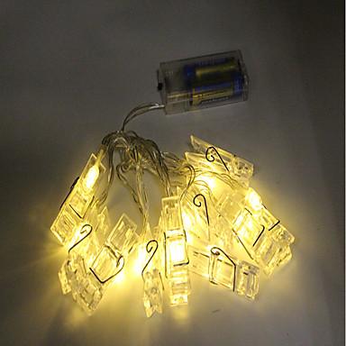 1.5 m Łańcuchy świetlne 10 Diody LED Dip LED Ciepła biel / RGB Dekoracyjna Zasilanie bateriami AA 1 szt.