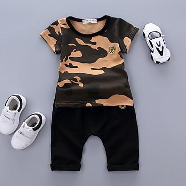 Brzdąc Dla chłopców Moda miejska Święto Nadruk Nadruk Krótki rękaw Komplet odzieży