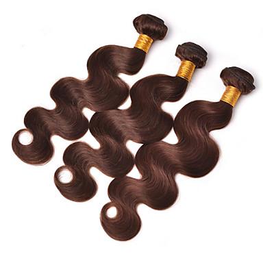 Włosy brazylijskie Falowana Włosy virgin Pakiet One Solution Doczepy z naturalnych włosów Taśma włosów z zamknięciem Brązowy Ludzkie włosy wyplata Miękka Gorąca wyprzedaż 100% Dziewica Ludzkich