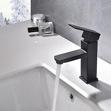 Bateria do umywalki łazienkowej - Szeroko rozstawiona Malarstwo Umieszczona centralnie Jeden uchwyt Jeden otwór