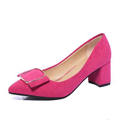 Damen Schuhe Vlies Herbst Komfort High Heels Stöckelabsatz Schleife Grau / Fuchsia / Rot