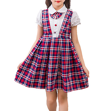 Girl's Plaid/Check Dress, Cotton Summer Fall Short Sleeves Check Red