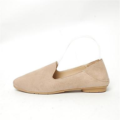 Women's Shoes PU(Polyurethane) Summer Comfort Flats Low Heel Pointed Toe Split Joint Yellow / Red / Khaki