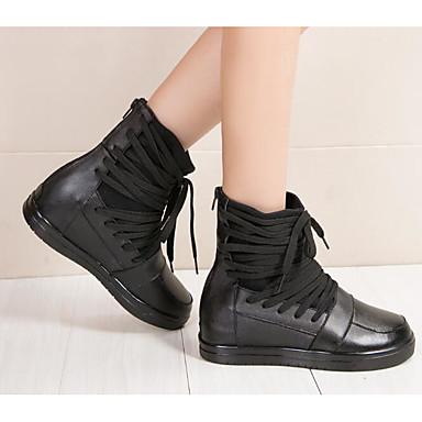 Plat Automne Noir Talon Chaussures Femme boîtes Hiver 06637250 Bottes Combat Bottes Cuir de mollet Mi qCwzBEpxw