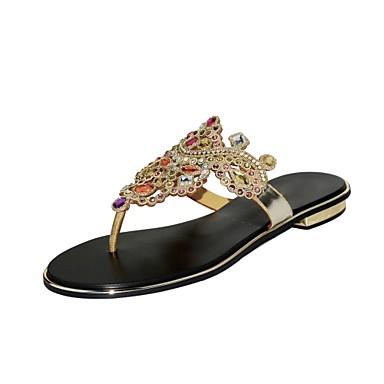 Sandales Femme Chaussures 06623867 Brillante ouvert Mode Or Paillette à Polyuréthane Strass la Printemps Cristal Plat Talon Bout Eté Bottes r8qrd4Uxw
