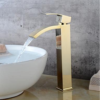 Bateria do umywalki łazienkowej - Wodospad Ti-PVD Umieszczona centralnie Jeden uchwyt Jeden otwór