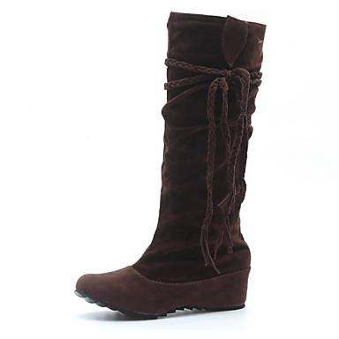 povoljno Ženske cipele-Žene Čizme Ravna potpetica Nubuk koža Čizme do koljena Modne čizme Zima Obala / Crn / Tamno smeđa