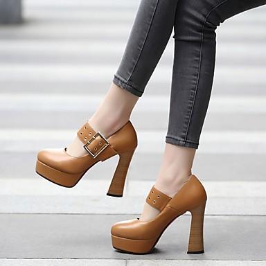 Noir Talons Similicuir Boucle Chaussures Femme Bottier Bout 06641824 Automne Chaussures Talon Confort Marron rond à Printemps qO75R0x5w