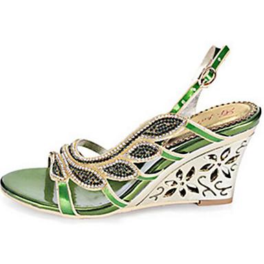 synthétique semelle Paillette Hauteur Or compensée Eté Chaussures PU Brillante 06647377 microfibre Sandales Vert de de Femme Confort Fq4Ynw