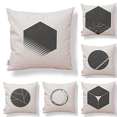 6 szt Tekstylny / Bawełna / pościel Poszewka na poduszkę / Pokrowiec na poduszkę, Art Deco / Unikalny wzór / Nowość Geometrické / Wysoka jakość