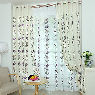 Sheer Curtains Shades Living Room Contemporary Cotton / Polyester Printed