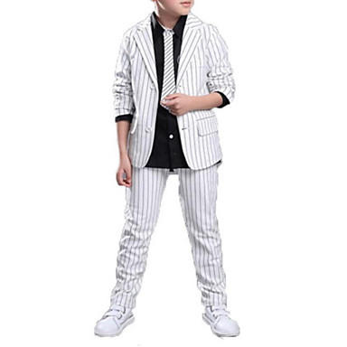 cheap Boys Clothing Set Best Sellers-Kids Boys' Casual / Street chic Daily / School Solid Colored / Striped Print Long Sleeve Cotton / Polyester Clothing Set White