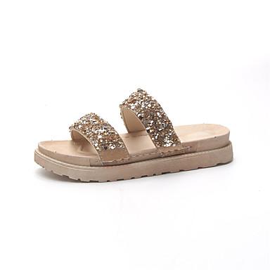 Mulheres Sapatos Couro Ecológico Verão Conforto Sandálias Caminhada Salto Baixo Dedo Aberto Dourado / Preto