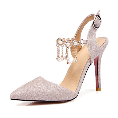 417ef2982ee ... Glitter Summer   Fall Comfort   Ankle Strap Sandals Stiletto Heel  Pointed Toe Imitation Pearl   Buckle Gold   Silver   Purple   Party    Evening