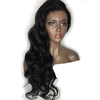 abordables Perruques Naturelles Dentelle-Perruque Cheveux Naturel humain Cheveux humains Naturels Non Traités Lace Frontale Cheveux Brésiliens Ondulé Naturel Partie médiane Séparation profonde Partie latérale 130% avec des cheveux de béb