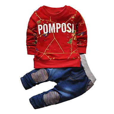 Brzdąc Dla chłopców Aktywny / Moda miejska Sport Nadruk Długi rękaw Bawełna Komplet odzieży