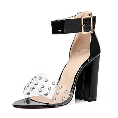 Eté Similicuir ouvert Rouge Sandales Boucle Talon 06647826 Chaussures Bout Amande Bottier Rose Femme Rivet de Cheville Bride 5O1E1wvx