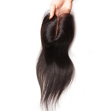 povoljno Perike i ekstenzije-Guanyuwigs Brazilska kosa 4x4 Zatvaranje Ravan kroj Besplatno dio / Središnji dio / 3. dio Švicarska čipka Ljudska kosa Žene Svilenkast Dnevno
