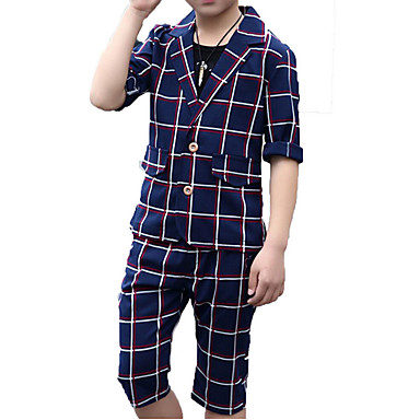 737da32041b951 Kids Boys  Active   Basic Daily   Holiday Solid Colored   Plaid Half Sleeve  Cotton   Polyester Suit   Blazer Beige