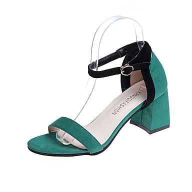 Mulheres Borracha Verão Conforto Sandálias Caminhada Salto Robusto Presilha Verde / Vinho / Amêndoa