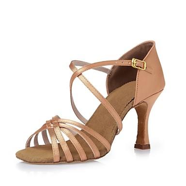 ef8c5ddebe26 Women s Latin Shoes Silk Heel Ribbon Tie Stiletto Heel Customizable Dance  Shoes Black   Dark Brown   Nude   Leather   Practice