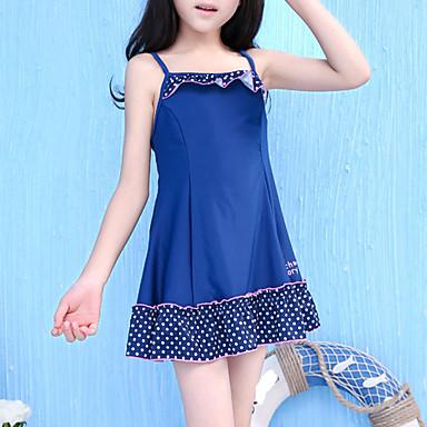 בנות אחיד מנוקד בגדי ים, פוליאסטר כחול נייבי
