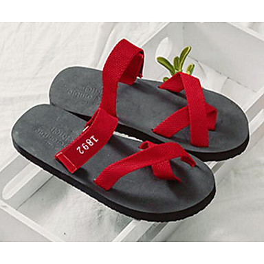 Mujer Rojo Confort Plano Sandalias 06637609 Sintético Unisex Zapatos Verano Negro Tacón rxqTrZH