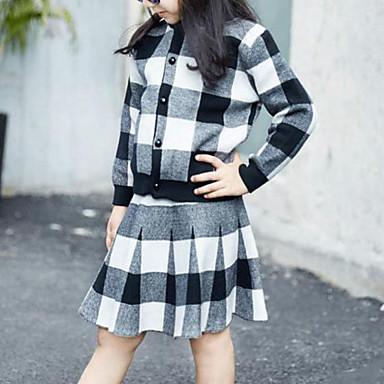 סט של בגדים חוטי זהורית אביב סתיו שרוול ארוך יומי ליציאה משובץ דמקה בנות יום יומי סגנון רחוב שחור אודם