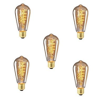 5szt 40 W E26 / E27 ST64 Ciepła biel 2200-2700 k Retro / Przygaszanie / Dekoracyjna Żarówka Edisona w stylu vintage 220-240 V