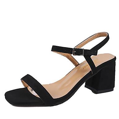 Mujer Zapatos PU Verano Confort Sandalias Tacón Cuadrado Dedo redondo Negro 0aiMfBEZdf