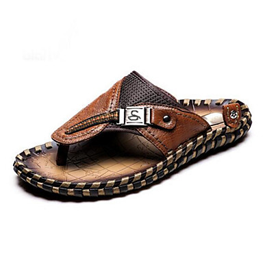 Męskie Komfortowe buty Skóra bydlęca Lato Klapki i japonki Czarny / Jasnobrązowy