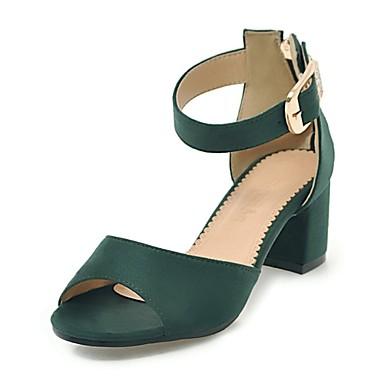 Mujer Zapatos Cuero Nobuck Primavera / Verano Talón Descubierto Tacones Tacón Cuadrado Beige / Verde Ejército / Rosa 7vf0xXN