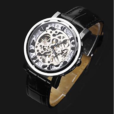 abordables Relojes Automáticos-ASJ Hombre Reloj Esqueleto Reloj de Pulsera El reloj mecánico Cuerda Automática Piel Negro Huecograbado Analógico Lujo Moda - Plata