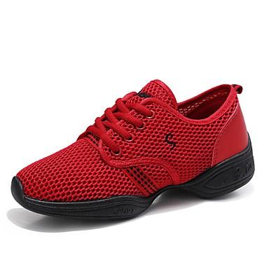 baratos Super Ofertas-Mulheres Sapatos de Dança Tule Tênis de Dança Têni Sem Salto Personalizável Preto / Fúcsia / Vermelho / EU41