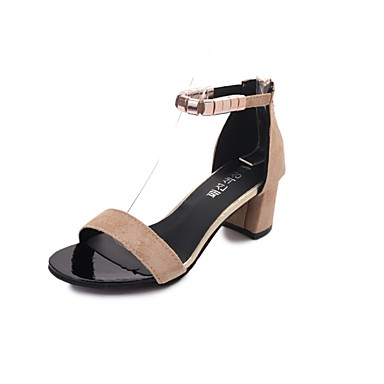 Bajo Mujer Verano Sandalias Negro Goma Confort Tacón Zapatos Caqui mn0w8vNO