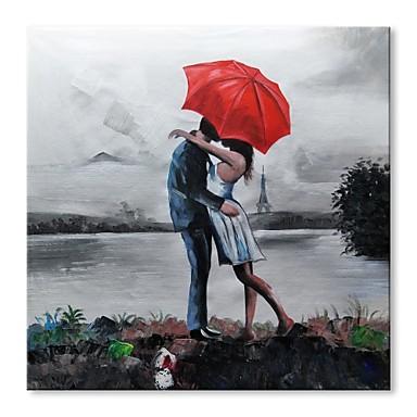 Hang-Malowane obraz olejny Ręcznie malowane - Abstrakcja / Ludzie Nowoczesne / Nowoczesny Płótno / Rozciągnięte płótno