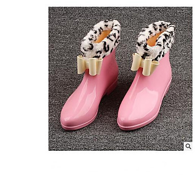 Botas de Zapatos Negro Cuero Tacón Mujer Bajo Rojo Rosa lluvia Otoño 06681137 Botas invierno PVC XYdwq
