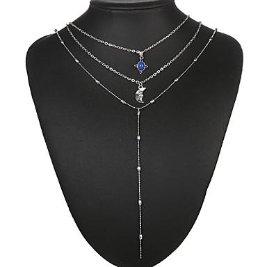 levne Dámské šperky-Obojkové náhrdelníky Náhrdelníky s přívěšky Řetízky Silný řetězec dámy Vintage Cikánské Geleneksel Pryskyřice Slitina Stříbrná 40 cm Náhrdelníky Šperky Pro Večírek Dar Denní Street