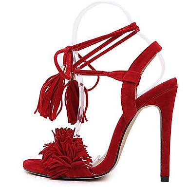 Escarpin Aiguille Evénement Rouge Sandales Basique Femme Fourrure Chaussures Noir 06661312 Gland Confort Automne amp; Soirée Eté Talon wFX0qz