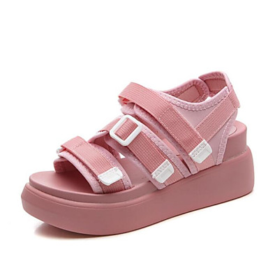 Blanc Rose Eté Creepers Noir 06654391 Chaussures Gladiateur Sandales Tissu Femme qFU1RwY