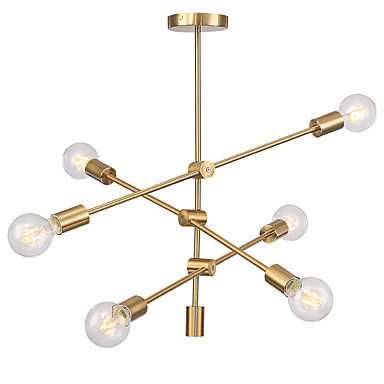 nowoczesne lampy wiszące z galwanicznym oświetleniem z 6-lampowym uchwytem do montażu w salonie jadalnia żyrandol sypialnia