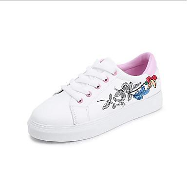 Confort Zapatos deporte Mujer Plano Blanco Tacón 06669452 Primavera PU de Rosa Zapatillas wYO6tSq6