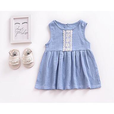 8e9f6ecd933 Μωρό Κοριτσίστικα Βασικό Καθημερινά Μονόχρωμο Αμάνικο Κανονικό Κανονικό Πολυεστέρας  Φόρεμα Θαλασσί / Νήπιο