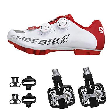 SIDEBIKE Voksne Sykkelsko med pedal og tåjern / Mountain Bike-sko Nylon Demping Sykling Rød og Hvit Herre / Syntetisk Mikrofiber PU