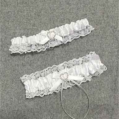 Șifon Satinat Stil Vintage Nunta Garter Cu Piatră Semiprețioasă / Inimă / Găuri Jartiere Nuntă / Party & Seară