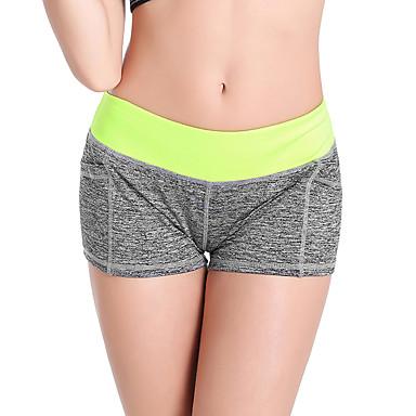 Damen Yoga-Hose - Gelb, Rose Rot, Grün Sport Patchwork Elasthan Shorts / Laufshorts / Unterwäsche Shorts / Undershort Übung & Fitness, Laufen Sportkleidung Rasche Trocknung, Atmungsaktiv