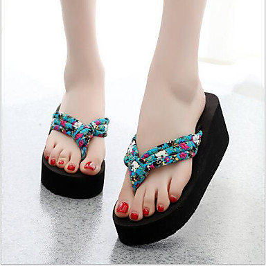 voordelige Damespantoffels & slippers-Dames Slippers & Flip-Flops Sleehak Katoen / Weefsel Comfortabel Zomer Zwart / Beige / Blauw