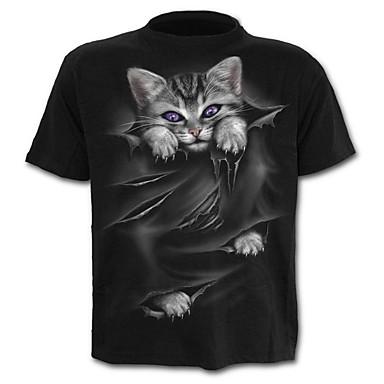 Hombre Estampado - Algodón Camiseta Gráfico / Animal Negro XXL