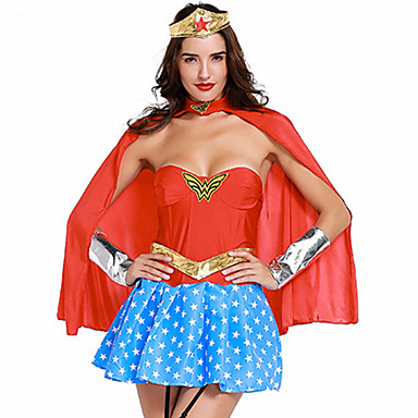 Super Heroes Warrior Cosplay Costume Party Costume Women's Christmas Halloween Carnival Festival / Holiday Lycra Outfits Blue+Red Patchwork